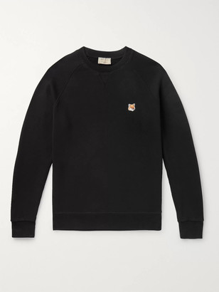 MAISON KITSUNÉ Logo-Appliqued Melange Loopback Cotton-Jersey Sweatshirt