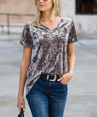 Amaryllis Women's Tee Shirts Crushed - Taupe Crushed Velvet Relaxed Hi-Low Tee - Women & Plus