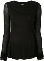 Rick Owens Lilies backless long sleeve T-shirt - women - Cotton/Polyamide/Viscose - 40