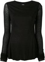 Rick Owens Lilies backless long sleeve T-shirt - women - Cotton/Polyamide/Viscose - 44