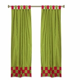 Indian Selections 2 Eclectic Olive Green Indian Check Sari Curtains Tab Top drapes