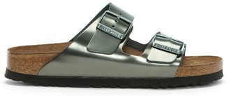 Birkenstock Arizona Metallic Anthracite Leather Two Bar Mules