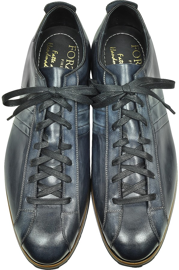 Thumbnail for your product : Forzieri Italian Handcrafted Black/Blue Washed Leather Sneaker