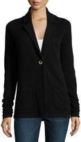 Neiman Marcus Cashmere Ruched-Sleeve Jacket, Black