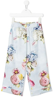 MonnaLisa Floral Print Turn Up Cuff Trousers