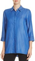 Foxcroft Gigi Lace-Up Back Chambray Tunic