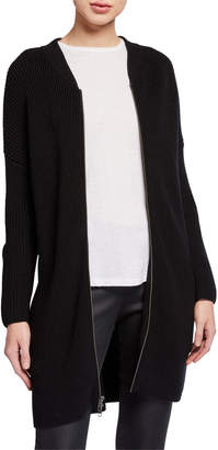 Eileen Fisher Merino Wool Zip-Front Long Cardigan