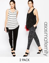 Asos 2 Pack Jersey Peg Pants in Plain Black and Polka Dot