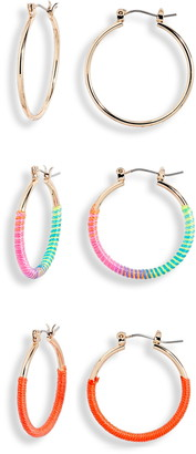 BP 3-Pair Set Hoop Earrings