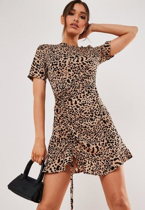 Missguided Stone Leopard Print Ruched Side Tea Dress