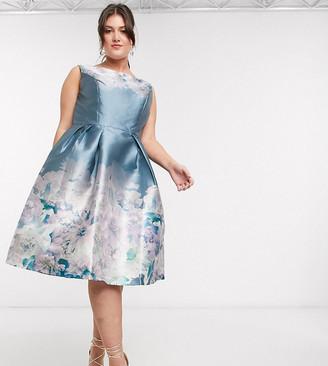 Chi Chi London Chi Chi Curve Karlene midi dress in blue floral