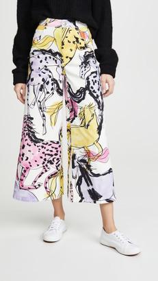 Stella McCartney Horse Print Wide Leg Pants