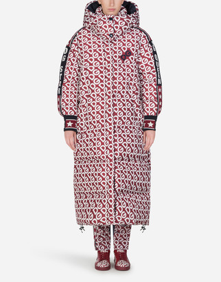 Dolce & Gabbana Long Nylon Down Jacket With Logo Print