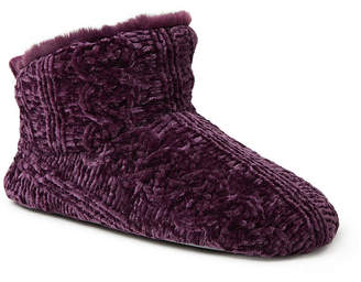 Dearfoams Marled Cable Knit Chenille Womens Bootie Slippers