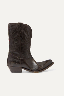 Golden Goose Wish Star Low Embroidered Distressed Leather Boots - Brown