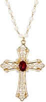 Cara Accessories Beaded Cross Pendant & Chain Necklace