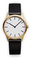 Uniform Wares C35 PVD Gold Shell Cordovan Unisex Quartz Watch with White Dial Analogue Display And Black Leather Strap