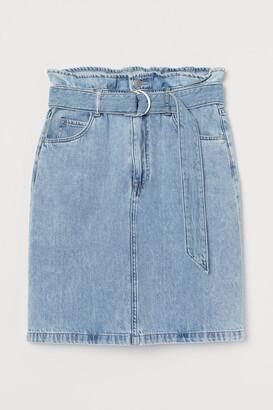 H&M Denim Paper-bag Skirt - Blue
