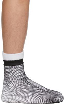 Random Identities White and Black Fishnet Socks