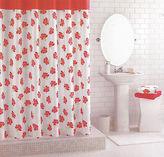 Martha Stewart Le Petite Fleur Carnation Coral Red & White Floral Shower Curtain