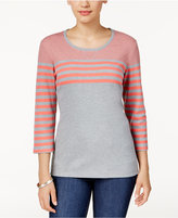 Karen Scott Petite Colorblocked Striped Top, Only at Macy's
