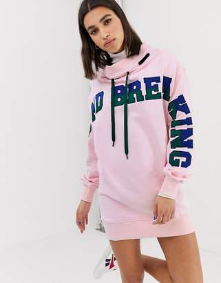 House of Holland ground breaking oversized 2-way sweatshirt dress-Pink