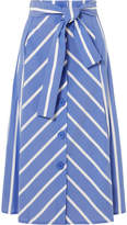 Maje Striped Cotton-blend Midi Skirt - Blue