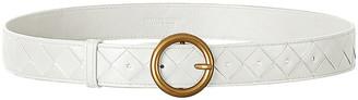Bottega Veneta Leather Belt in White & Gold | FWRD