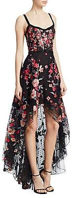 Marchesa Women's Embroidered High-Low Sleeveless A-Line Dress