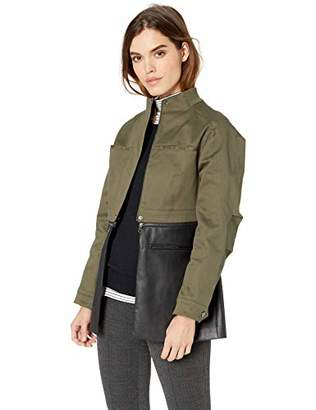 BCBGMAXAZRIA Women's Faux Leather-Trimmed Peplum Jacket