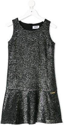 MOSCHINO BAMBINO Boucle Knit Metallic Shift Dress