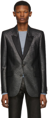 Givenchy Black and Silver Logo Pattern Evening Jacket