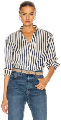 Totême Capri Shirt in Navy Stripe | FWRD