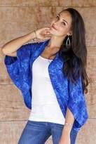 Hand Stamped Rayon Batik Shrug Jacket in Royal Blue, 'Lovina Blue'
