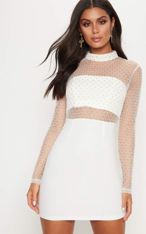 PrettyLittleThing White Criss Cross Mesh Top Bodycon Dress