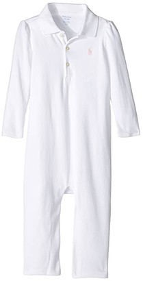 Polo Ralph Lauren Cotton Coverall (Infant) (White/Hint of Pink Pony Player) Girl's Jumpsuit & Rompers One Piece