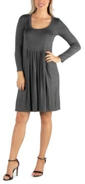 24seven Comfort Apparel Women's Knee Length Pleated Long Sleeve Dress