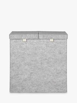 John Lewis & Partners Felt Double Laundry Basket, Grey