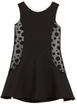 Zoë Ltd Sleeveless Neoprene Fit-and-Flare Dress, Black/Cream, Size 7-16