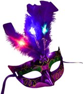 Vinjeely Women Venetian LED Mask Masquerade Fancy Dress Party Princess Feather Masks