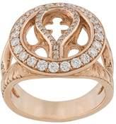 Loree Rodkin 14kt rose gold and diamond round Quatrefoil ring