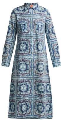 Le Sirenuse Le Sirenuse, Positano - Elisa Aretusa Print Cotton Shirtdress - Womens - Blue Print