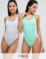 Asos Scoop Front High Leg Swimsuit Multipack