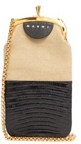Marni Colour-block Lizard-effect Leather Cross-body Bag - Womens - Black Multi