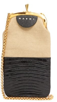 Marni Colour-block Lizard-effect Leather Cross-body Bag - Black Multi