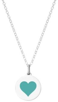 "Auburn Jewelry Mini Reverse Heart Pendant Necklace in Sterling Silver and Enamel, 16"" + 2"" Extender"