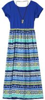 Speechless Girls 7-16 Colorblock & Pattern Maxi Dress with Necklace