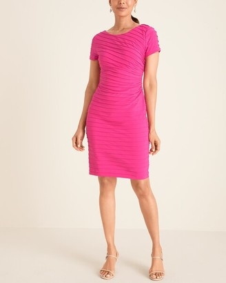 Adrianna Papell Adriana Papell Pink Ruched Bateau-Neck Sheath Dress