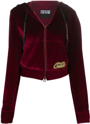 Versace Jeans Couture Velour Logo Patch Zip-Up Hoodie