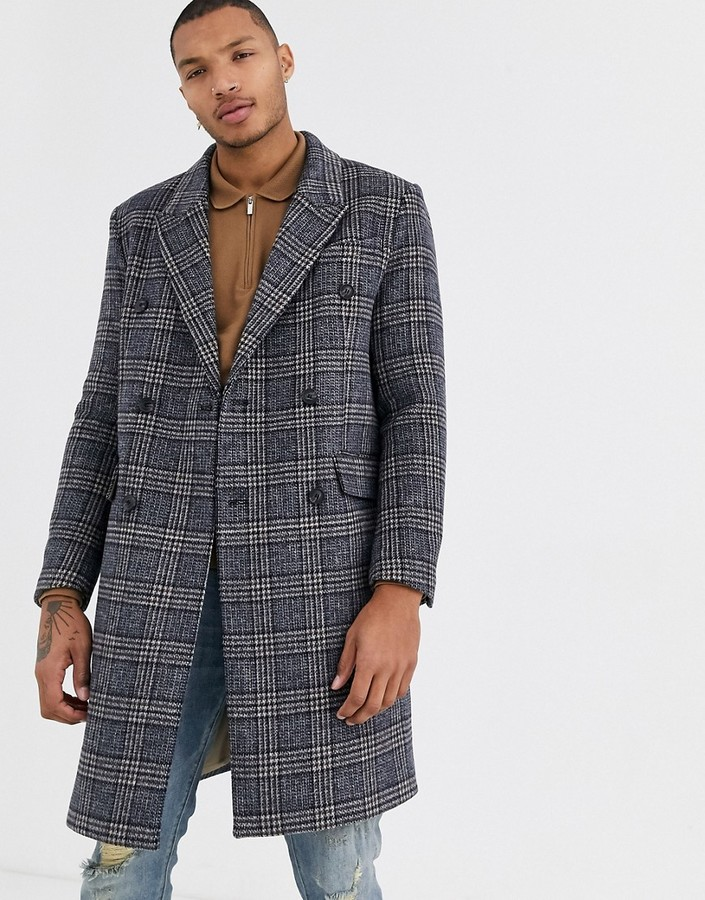 Topman overcoat in grey check